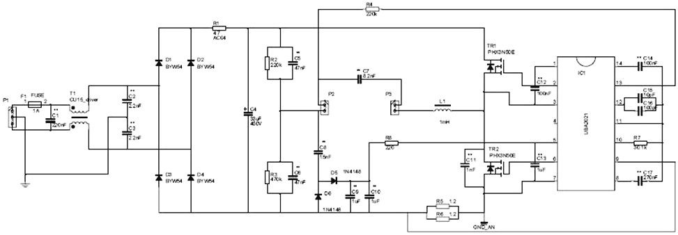 Схема электронного розжига для люминесцентной лампы